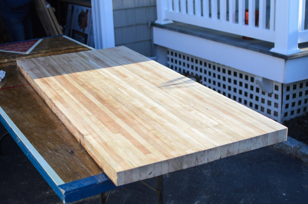 Reclaimed bowling alley lane desk - sanded