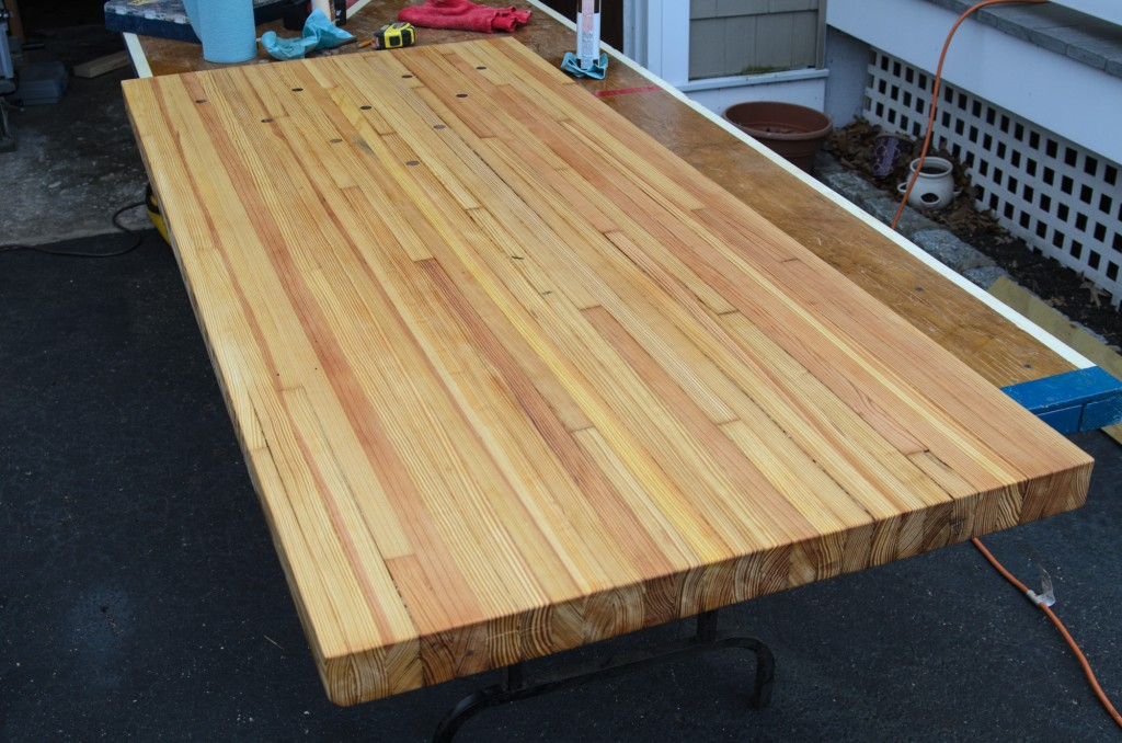 Reclaimed bowling alley lane desk - staining